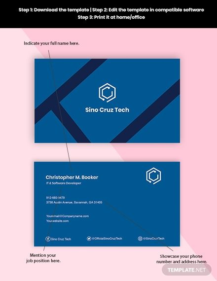 Developer Business Card Template In 2020 Business Card Template Card Template Development