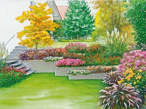 Eine Böschung wird zum Stufengarten Gardens, Terraced garden and