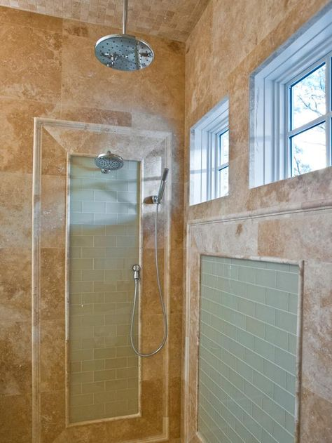 Luxury Shower: Blocks of glass tile break up the travertine. HGTV Smart Home Master Bathroom >> http://www.hgtv.com/smart-home/hgtv-smart-home-2013-master-bathroom-pictures/pictures/page-6.html?soc=pinterest