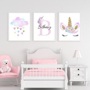 Set of 3 Personalised Princess and Unicorn Girls Bedroom Wall Art Prints A4  A5