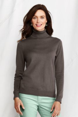4f7a9d40e8583 Women s Fine Gauge Supima Turtleneck Sweater from Lands  End ...