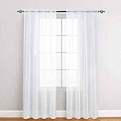 Amazon Com White Sheer Curtains 95 Inches Long For Living Room