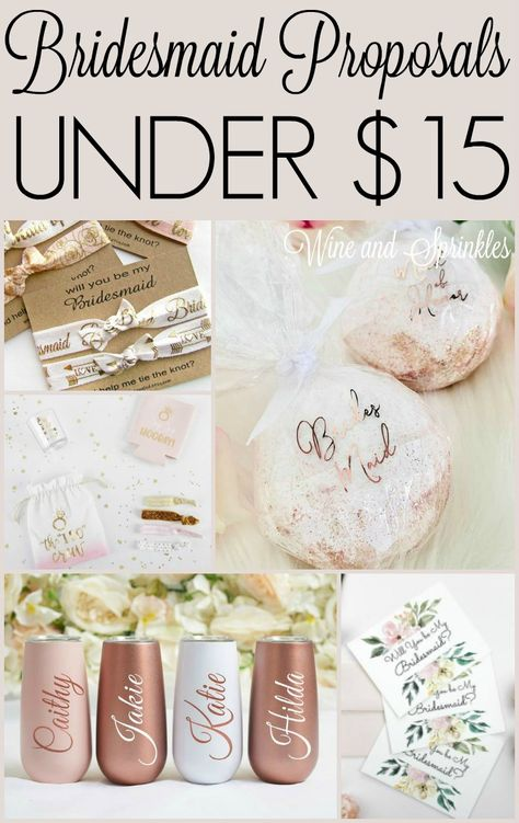 Bridesmaid Proposals Under $15 #bridesmaidproposals #willyoubemybridesmaid #budgetwedding