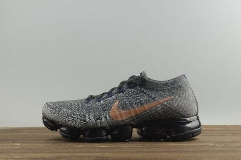 56276a6530a5 Official Nike Air VaporMax Flyknit Black Metallic Red Bronze College Navy  2018 Running Shoes Sneakers 849558-010 On Sale