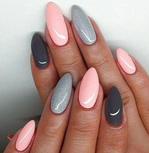 Pink and grey nails #AcrylicNailsPink