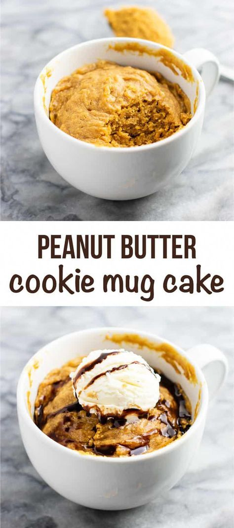 Microwave peanut butter cookie in a mug – gluten free dairy free, and refined sugar free! This tastes amazing and is so good with ice cream! #dessert #glutenfree #dairyfree #mugcake #peanutbuttercookie #peanutbuttermugcake #cakeinamug