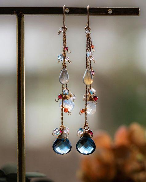 Gold Custom Filigree Geometric Metallic Leaf Earrings with Rainbow Crystal Geode Gemstones Silver Bronze