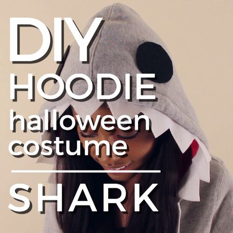 DIY No-Sew Shark Hoodie Halloween Costume