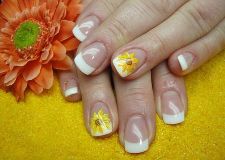 Just one accent flower, like this sunflower, brings a normal french manicure to life!