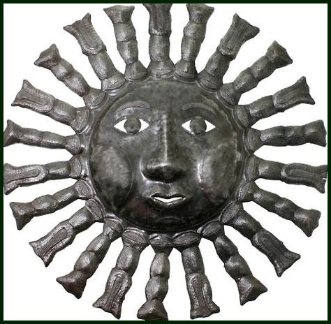 "Haitian Sun Design - Steel Drum Metal Art Wall Decor - 24"" - $84.95 -  Steel Drum Metal Art from  Haiti - Interior or Garden Décor   * Found at  www.HaitiMetalArt.com"