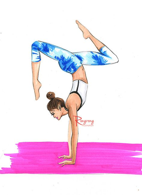 Yoga art Yoga print Yoga wall art Yoga by RongrongIllustration