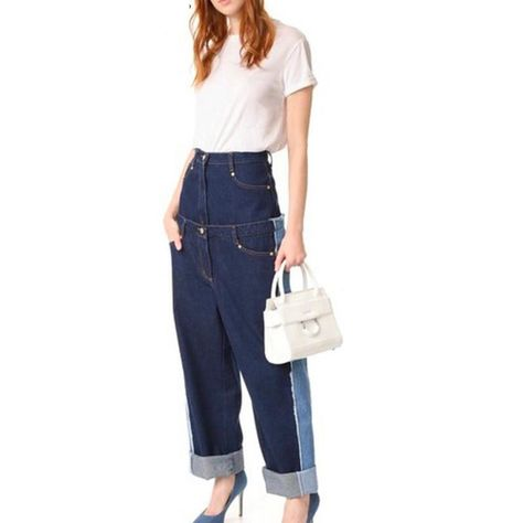 d8109e3c Runway Designer Women High Waist Fake Two Patchwork Denim Jeans Trouser  Loose Contrast Color Denim Wide