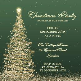 Invitación Verde Elegante De La Fiesta De Navidad Navidad
