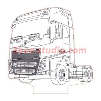 Volvo Fh16 750 Truck 3d Illusion Lamp Plan Vector File For Laser And Cnc 3bee Studio Volvo 3d Illusions Trucks