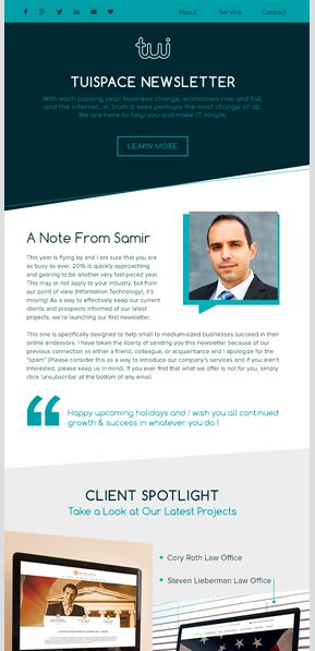 Email Newsletter Design | TuiSpace
