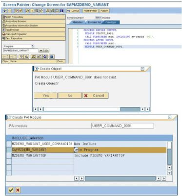 Creation Of Selection Screen Variant In Module Pool Programming