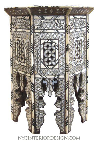 Black Bone Inlay Moroccan Table Bone Inlay Moroccan Table