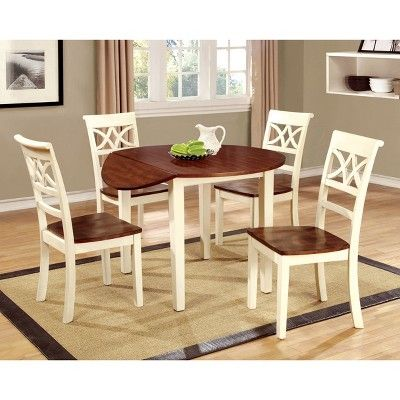 Set Of 2 Lanfield Country Style Back Design Side Chair Vintage White Cherry Iohomes Adult Unisex Black Dining Chairs Furniture Side Chairs