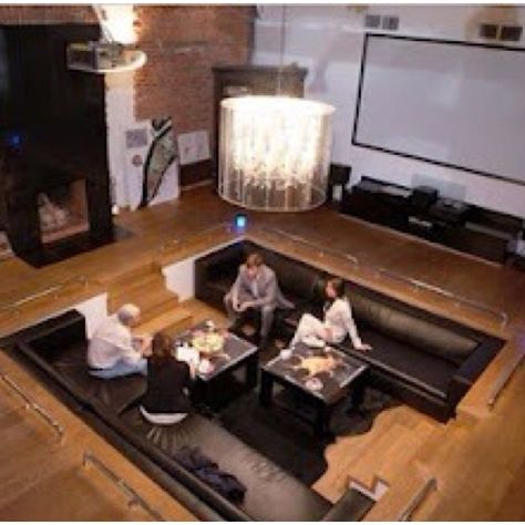 Sunken Living Room Cool Couches Great Projection Screen