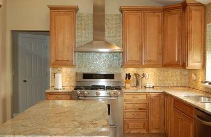 Maple Kitchen Cabinets, Natural Maple Cabinets With White Granite Countertops