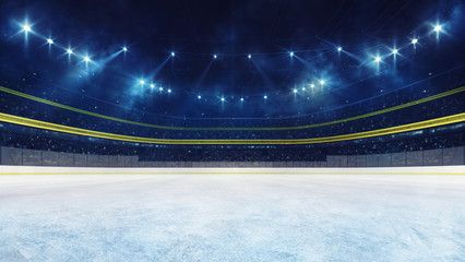 Empty Ice Rink And Illuminated Stadium With Fans Playground View Professional Ice Hockey Sport 3d Render Illustration Backgro In 2020 Stadium Sport Hockey Playground