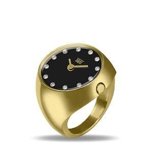 df53e07bd0b0 ... Jaune Cadran Noir Strass Cristal Swarovski Verre Saphir Davis 2015  Davis Ladies Finger Ring Watch Ring Watch Yellow Gold Polished Stainless Steel  Case ...