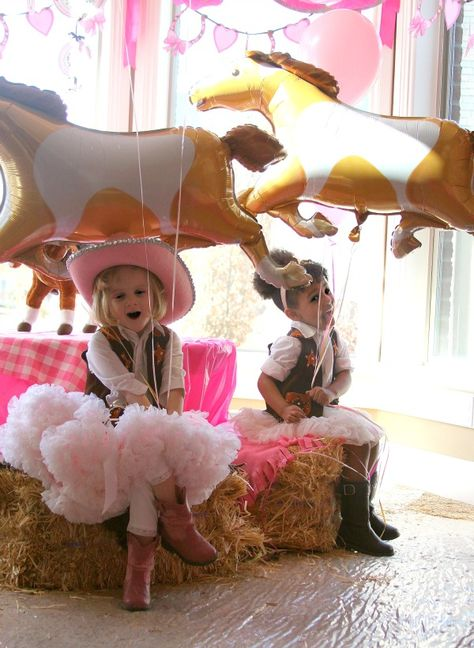 cute cowgirl party.  Would the theme be as cute if you didn't have these frilly fillies attending?