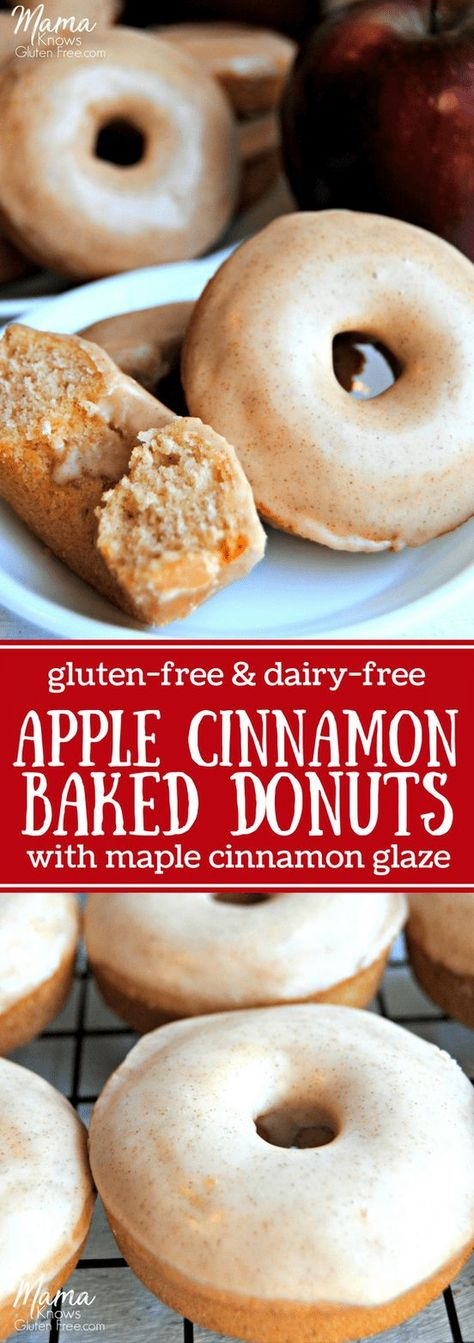 Baked Apple Cinnamon Donuts {Gluten-Free, Dairy-Free} Gluten-Free and Dairy-Free Baked Apple Cinnamon Donuts. These easy baked gluten-free apple cinnamon donuts with maple cinnamon glaze will be your family's favorite fall breakfast treat. Gluten Free Donuts, Gluten Free Sweets, Gluten Free Donut Recipe Baked, Lactose Free Desserts, Easy Desserts, Lactose Free Foods, Gluten Free Dairy Free Bread Recipe, Dairy Free Cakes, Easy Gluten Free Cookies