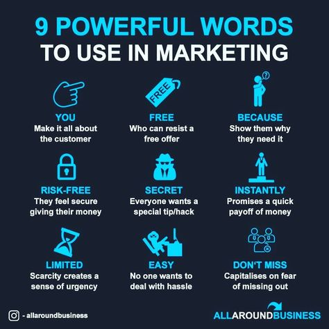 "Millionaire Social Master 🌎 on Instagram: ""9 powerful words to use in Marketing 💪🏼📈 . ❤Double tap if you agree🙏 Tag someone who needs to see this❗ Comment your views below👇 . . 👇👇👇👇👇…"""