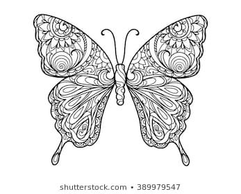 Butterfly Coloring Book For Adults Vector Illustration Anti Stress Coloring For Adult Zentangle Style Black And White Mit Bildern Ausmalbilder Ausmalen Mandala Ausmalen