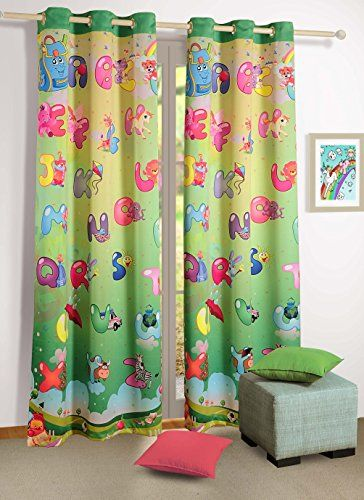 Blackout Polysatin Window Curtains For Kids Rooms Alphabet Friends Set Of 2 Curtain Panels With Silver Grommets 48 Inchx Kids Curtains Curtains Panel Curtains