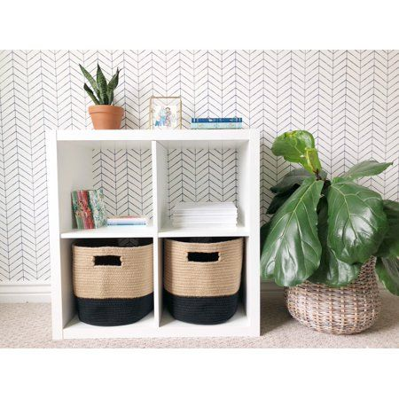 Chloe And Cotton Woven Fabric Cube Storage Baskets Jute Black 11 X 12 X 14 5 Set Of 2 Walmart Com Cube Storage Baskets Fabric Storage Bins Cubby Storage Bins