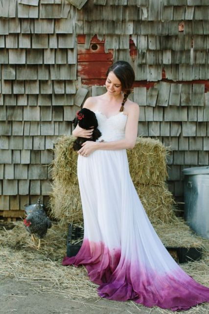 Country Dye Colorful Purple Wedding Dress Long Wedding Dresses Chiffon Wedding Gown Bridal Dress In 2020 Ombre Wedding Dress Dip Dye Wedding Dress Purple Wedding Dress,Black Wedding Guest Dress Outfit