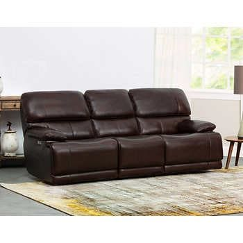 Aleena Leather Power Reclining Sofa With Power Headrest In 2020 Power Reclining Sofa Reclining Sofa Power Recliners