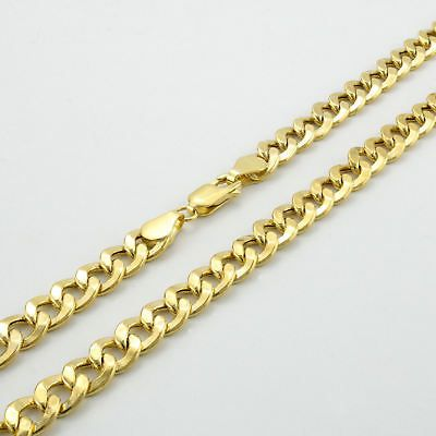 Real 10k Yellow Gold 7 5mm Cuban Link Curb Chain Bracelet Lobster Clasp 7 8 9 Chain Link Necklace Necklace Chain Types Bangle Bracelets With Charms