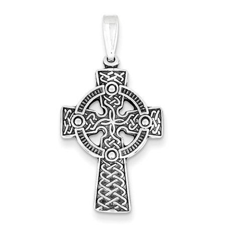 long cross necklace Solid sterling silver celtic cross necklace with turquoise unisex jewelry