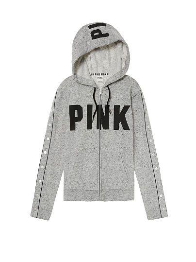 VS PINK VICTORIA/'S SECRET BLACK WHITE LOGO SNAP SLEEVE PERFECT FULL ZIP HOODIE!!