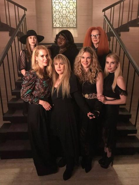 The Coven is Back Together In New AHS: APOCALYPSE Photo - Nightmare on Film Street - - In anticipation of the new season of American Horror Story, co-creator Ryan Murphy shared two photos of our favorite reunited coven on social media. American Horror Story Coven, American Horror Story Seasons, Apocalypse Cast, Apocalypse Character, A Discovery Of Witches, Ahs Cast, Evan Peters, Emma Roberts, Film Serie