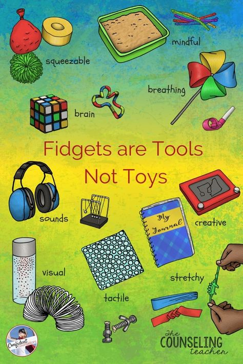 Fidget Tools in the Classroom Fidget Tools in the Classroom,Social Work Fidgets are Tools, Not Toys Using fidget tools in the classroom can help students improve focus and self-calm. Related posts:Social Skills Printables for. Elementary School Counseling, School Social Work, School Counselor, Elementary Schools, School School, School Ideas, Counseling Activities, Art Therapy Activities, Sensory Activities