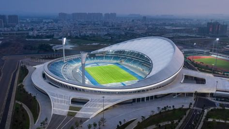 Aluminium louvres and a membrane roof shade Wuyuanhe Stadium