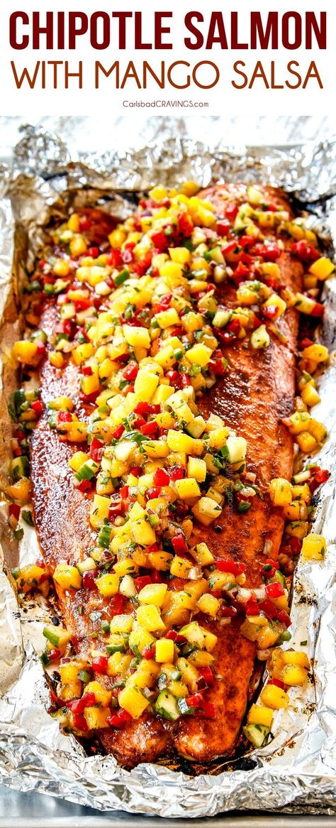 Baked Chipotle Salmon with Mango Salsa is easy, healthy and on your table in just over 30 minutes! #salmon #salmonrecipes #salmonrecipeshealthy #fishrecipes #mango #mangosalsa #recipes #recipeoftheday #recipesfordinner #recipeseasy #dinner #dinnerrecipes #dinnerideas #dinnertime #healthy #healthyrecipes #healthyfood #healthyeating