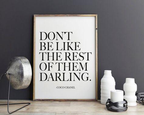 Darling Coco Chanel Quote - Fashion Print , Fashion art, wall art, illustration, Typography, wall decor
