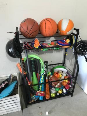 Heavy Duty Sports Storage Rack In 2020 Sports Storage Storage Rack Heavy Duty Storage Bins