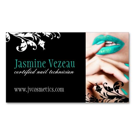 Nail Technician Business Cards. This great business card design is available for customization. All text style, colors, sizes can be modified to fit your needs. Just click the image to learn more!