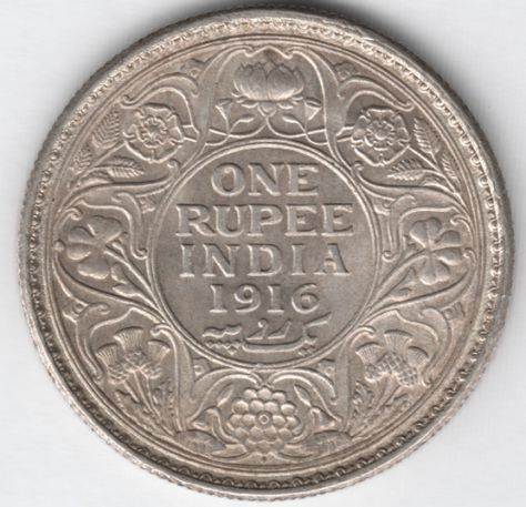1916 British India Silver Rupee Uncirculated Coins Silver