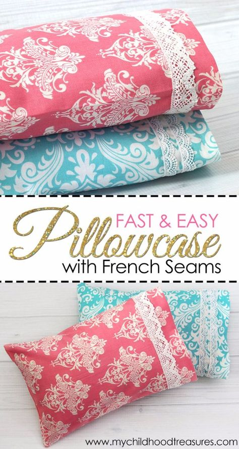DIY Pillowcases - Fast And Easy Pillowcase With French Seams - Easy Sewing Projects for Pillows - Bedroom and Home Decor Ideas - Sewing Patterns and Tutorials - No Sew Ideas - DIY Projects and Crafts for Women Easy Sewing Projects, Sewing Projects For Beginners, Sewing Hacks, Sewing Tutorials, Sewing Crafts, Sewing Patterns, Sewing Tips, Diy Projects, Sewing Ideas