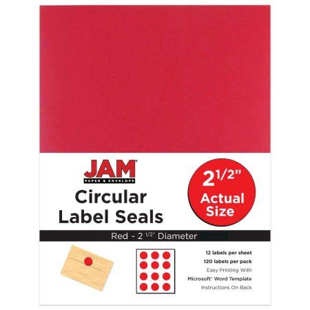 JAM Paper 2-1 2 inch Circle Label Sticker Seals, Re-Entry Red, 120 - labels word template