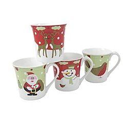 Aynsley China Multicoloured Set Of Four Christmas Mugs Christmas Mugs Mugs Dinner Sets