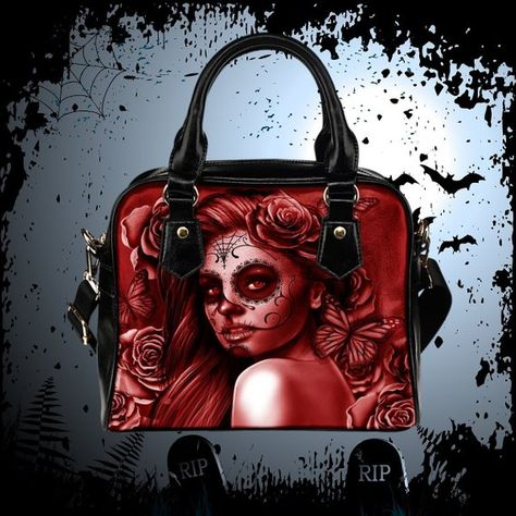 Calavera Design  2 (Red) Accessorize Yourself Bundle  1 - 1 Shoulder Bag   1  Pair Of High Top Canvas 91364dfbf1d09