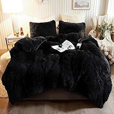 Amazon Com Plush Shaggy Duvet Cover Set Luxury Ultra Soft Crystal Velvet Bedding Sets 3 Pieces 1 Faux F Velvet Bedding Sets Bed Duvet Covers Black Duvet Cover